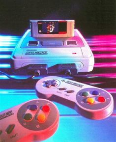 The Super Nintendo was launched in 1990 and it was an instant success. This console would go on to last for the upcoming years after other consoles were moving forward technologically. Super Nintendo, Nintendo Room, Old Nintendo, Nintendo Party, Nintendo Controller, Nintendo Sega, Nintendo Games, Nintendo Switch, Vaporwave