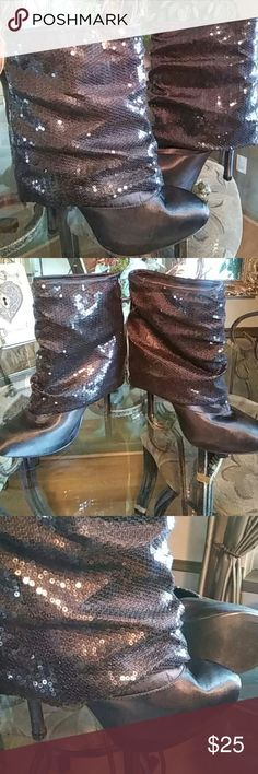 "Body Central Sequin & Satin Boots EUC! Slouchy sequins fold gown top with satin bottom.  Apprx 5"" heel with 1"" platform.  Slip ons - no zipper. Just no words to describe this one-of-a-kind piece.  A true statement maker! Can you say Holiday Style?!?! Body Central Shoes Heeled Boots"