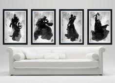 "Avengers limited edition black and white poster set - Captain America, Thor, Hulk, Ironman - matte finish 12""x18"" print on Etsy, $49.00"