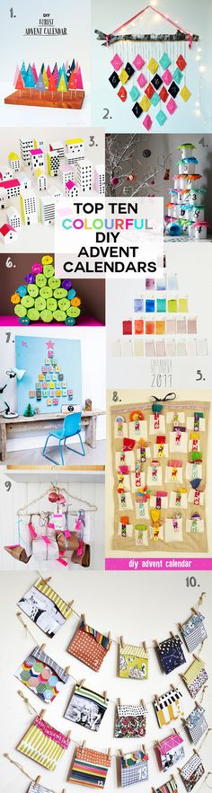 Top Ten DIY Advent Calendars - lots of bright and colorful ideas for making your own advent calendar this Christmas.