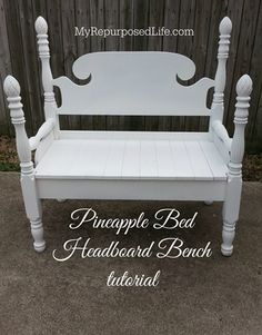 Pineapple Bed Headboard Bench Tutorial by MyRepurposedLife.com