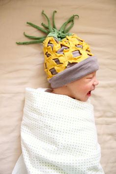 Make an adorable pineapple hat for baby.