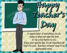 Show appreciation for the job your teachers does and send them a card on Teacher's Day. Free online A Big Thanks To Your Teacher ecards on Teachers' Day Teachers Day Greetings, Happy Teachers Day, Your Teacher, Best Teacher, International Teachers Day, Teacher Awards, Teachers' Day, Grandparents Day, Feeling Special