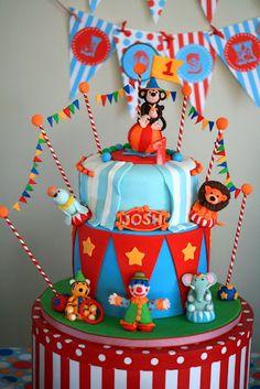 Circus cake Circus Carnival Party, Circus Theme Party, Birthday Party Themes, Birthday Cakes, Birthday Ideas, Circus 1st Birthdays, Circus Birthday, First Birthdays, Circus Train