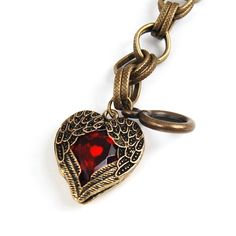 Antique Fashion Red Stone Heart Shaped Link Bracelet Retro Angel Wings Engraved