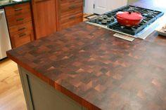 DIY butcher block ideas pictures: Walnut oil butcher block countertops