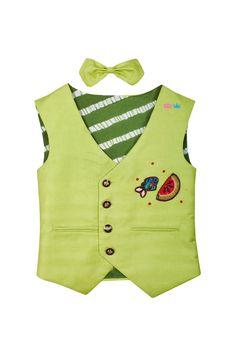 Green waistcoat with sequins motifs – Stylemylo Toddler Boy Outfits, Toddler Boys, Kids Outfits, Indian Men Fashion, Boy Fashion, Kurta Designs, Dress Designs, Boys Waistcoat, Kids Wear Boys