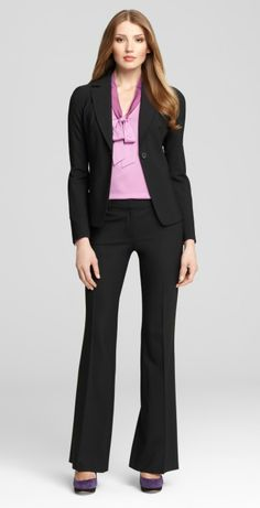 A nice black blazer + black pants make for a great business outfit!