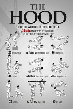 The Hood Workout - Beginner Bodyweight Routine Hero Workouts, Pop Workouts, Gym Workout Tips, Dumbbell Workout, Boxing Workout, At Home Workouts, Hiit Workouts For Men, Arrow Workout, Boxe Mma