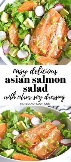 This bright, vibrant Asian Salmon Salad with Citrus Soy Dressing is the perfect light meal! Perfectly seared glazed salmon tops a salad dressed with a fresh citrus soy dressing. #lunchsalad #easyrecipe #healthy #glazedsalmon #salmon #asiansalad #salad Quick Easy Dinner, Quick Dinner Recipes, Good Healthy Recipes, Asian Salmon, Glazed Salmon, Salmon Salad, Healthy Fruits, Light Recipes, Summer Salads