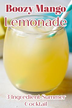 Boozy Mango Lemonade – A fun twist on classic lemonade! This boozy lemonade cocktail is a refreshing drink perfect for a hot summer day! You only need 3-ingredients to make this recipe! Lemonade Cocktail   Mango Lemonade   Lemonade Recipes Easy Drink Recipes, Alcohol Drink Recipes, Coffee Recipes, Summer Recipes, Holiday Recipes, Dessert Recipes, Mango Lemonade, Lemonade Cocktail, Cocktail Drinks
