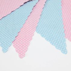 Pink And Blue Spotty Bunting. Reusable pink and blue spotty bunting with scalloped edges. This beautiful cotton bunting is suitable for both indoor and outdoor use. Ideal for a range of celebrations, from baby showers to princess tea parties, this pink and blue bunting features a delicate polka-dot design, and is made from high-quality materials to ensure it can be re-used again and again.  #princess #party #pink #fairy