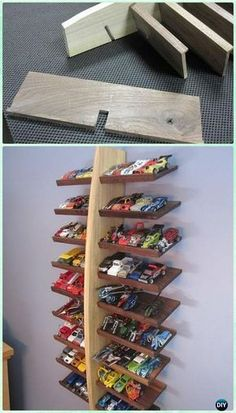 DIY Wood HotWheels Display Shelf Instructions - DIY Craft Projects You Can Make and Sell #HomeDecor