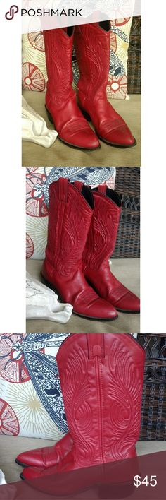 Vintage 80s red Western boots Love these super soft blood red boots. I'm overall good condition with some light scuffing and wear. Heels look great, soles a little more worn as they are leather but still lots of life. Vintage Shoes Heeled Boots