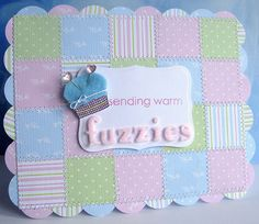 Fuzzy quilt card by Stamping and Stitching, via Flickr