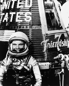 In 1959, John Glenn was selected by NASA as one of the seven original astronauts in the U.S. space program. On February 20, 1962, he became the first American to orbit the earth in the Friendship 7.