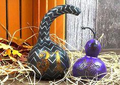 Painted Halloween Gourd Luminaries -- Turn gourds into luminaries for Halloween. #decoartprojects
