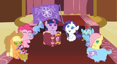 """The main six as fillies entitled: """"Saving the crystal ponies through heart attacks."""" I love the little ewe!"""