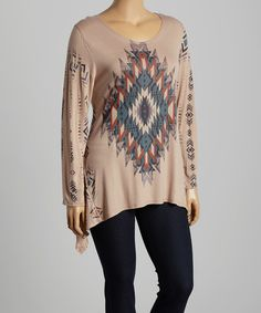 Love this Beige & Red Geometric Sidetail Top - Plus by Poliana Plus on #zulily! #zulilyfinds