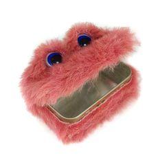 Pat the Tin Monster - Upcycled pink furry tin storage or gift - Eco Friendly - Kawaii. $10.00, via Etsy.