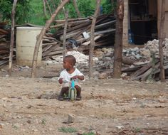 A child playing in the Dominican Republic