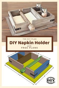 In my garage, I have a big pile of scrap wood left over from other projects. I didn't want to throw it away so I decided to build a small DIY Napkin Holder with salt and pepper compartments. Wood Projects That Sell, Wood Projects For Beginners, Scrap Wood Projects, Woodworking Projects Diy, Easy Small Wood Projects, Money Making Wood Projects, Wood Crafts That Sell, Diy Projects Garage, Welding Projects