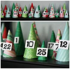 Christmas cone tree countdown. So cute and so fun!