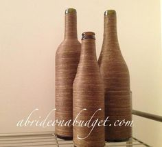 DIY Twine-wrapped Bottle Centerpieces Tutorial