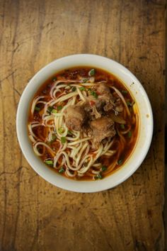 Chengdu noodle shop owner Ma Yingjun shared his recipe for this dish of stewed pork over noodles.