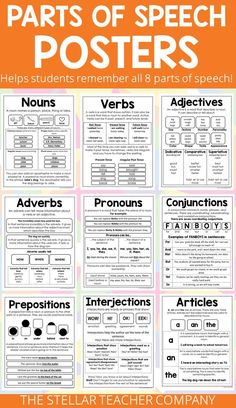 Best 12 These grammar posters are the perfect way to help your students remember the eight parts of speech. Each poster covers all of the important rules and gives examples of a specific part of speech. Students can glue them in their notebook and if your English Grammar Tenses, Teaching English Grammar, English Grammar Worksheets, English Verbs, English Writing Skills, English Vocabulary Words, Learn English Words, English Language Learning, English Study