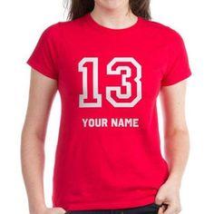 Cafepress Personalized No. Thirteen (13) Women's Dark T-Shirt, Size: Medium, Red