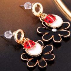 Metal Beetle Flower Rhinestone Crystal Dangle Stud Earrings