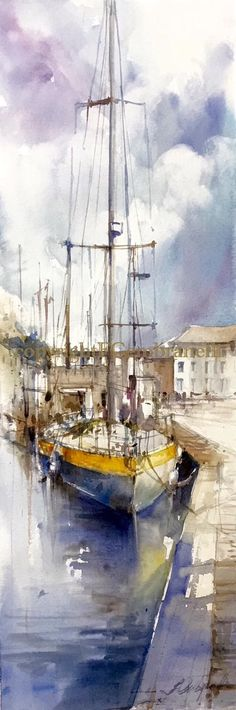 Landscaping watercolor boat Ideas for 2020 Art Aquarelle, Watercolor Pictures, Watercolor Artists, Watercolor Landscape, Watercolor And Ink, Watercolour Painting, Landscape Paintings, Watercolor Techniques, Watercolors