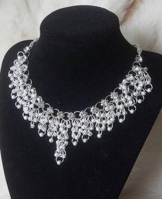 "Skadi Chainmaille ""Shaggy Weave"" Rhinestone necklace"