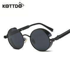 KOTTDO Steampunk Round Sunglasses Men Vintage Retro Metal Frame Coating Mirrored For Sun Glasses Women Brand Male Sunglasses #jewelry, #women, #men, #hats, #watches, #belts