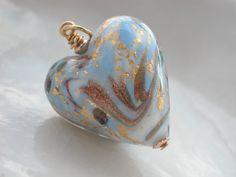 Blue Venetian Murano Glass Heart Pendant by muranobridal on Etsy, $24.00