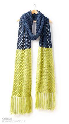 Granny Takes A Dip Crochet Super Scarf   Caron   Yarnspirations   A pop of…: