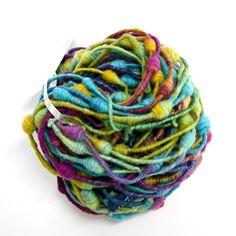 Hand Spun Rainbow Supercoil Art Yarn 12994