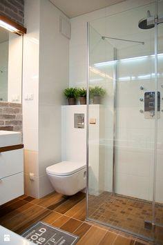 déco scandinave salle de bains: mur en brique et carrelage imitation bois