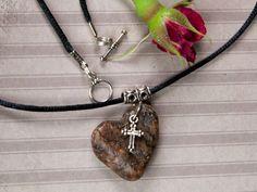 Cross and heart pendant Beach stone jewelry by AsteriskPhotoart