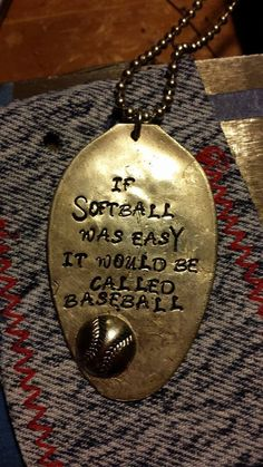 Hand stamped necklace If softball was easy it by MyGrannysPennies, $35.00