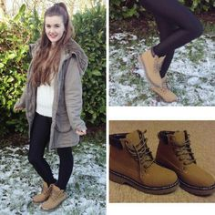 Blogger Chloe and her Shoe Zone lace up boots in honey