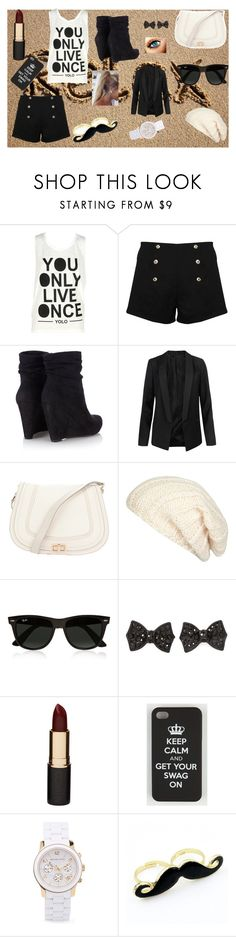 """""""Yolo"""" by mary-5so1ds ❤ liked on Polyvore featuring Paprika, Wallis, AllSaints, Chloé, River Island, Ray-Ban, Mimco, Michael Kors and Retrò"""