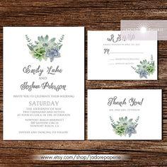 Rustic Succulent Wedding Invitation Printable Set Beautiful