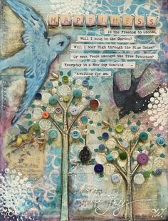Inspirational canvas, The Heart so needs a little Happiness! Artwork by Tracey White Collage Art Mixed Media, Mixed Media Canvas, Altered Canvas, Altered Art, Mixed Media Techniques, Art Techniques, Art Journal Pages, Journal Covers, Art Journals