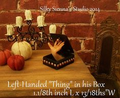 "Left Handed 'Thing' Addams Family Prop, Dollhouse 1:12 Miniature, Hand in a Box, 1 1/8"" x 3/4 """