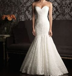 ivory mermaid wedding dress lace bridal gown halter Button $159 - :)