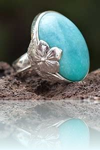 Silver earring - Chrysocolla and Sterling Silver Ring Peru