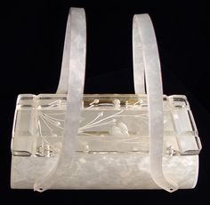 Vintage 1940s Purse Lucite Signed Rialto Frosted by AppleCharlotte, $285.00