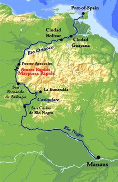 Orinoco river & Río Negro, Venezuela & Brazil | On the Río Negro they reached the confluence of the Casiquiare river, which directly flows into the Orinico from north-east.